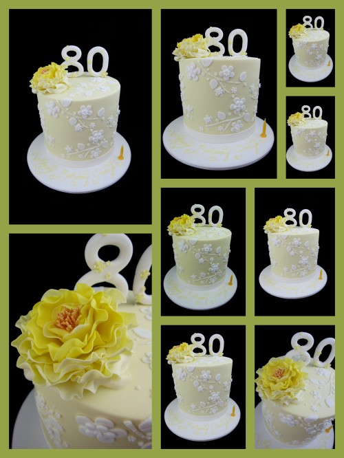 80th birthday cake idea lemon with peony flower