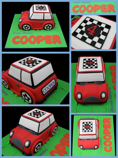 mini cooper 4th birthday cake