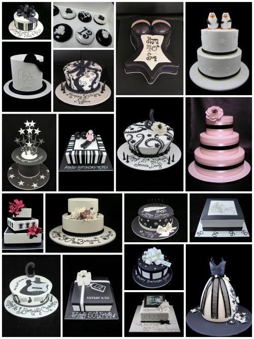 black and white decorated cakes inspired by michelle cake designs