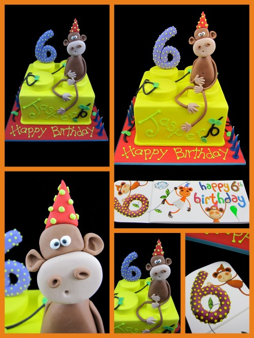 6th birthday lego block birthday cake cheeky monkey Inspired by Michelle Cake Designs