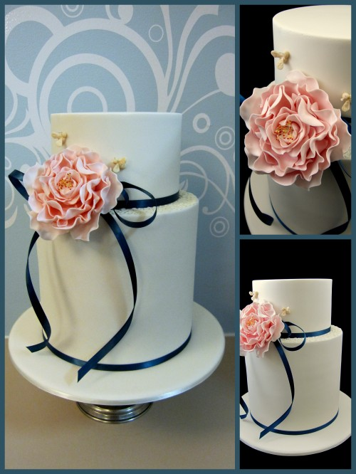 wedding cake idea single sugar peony flower Inspired by Michelle Cake Designs